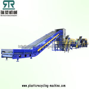 Post Consumer PET Bottle Flakes Crushing Washing Separating Recycling Machine Plant with Zigzag Label Remover