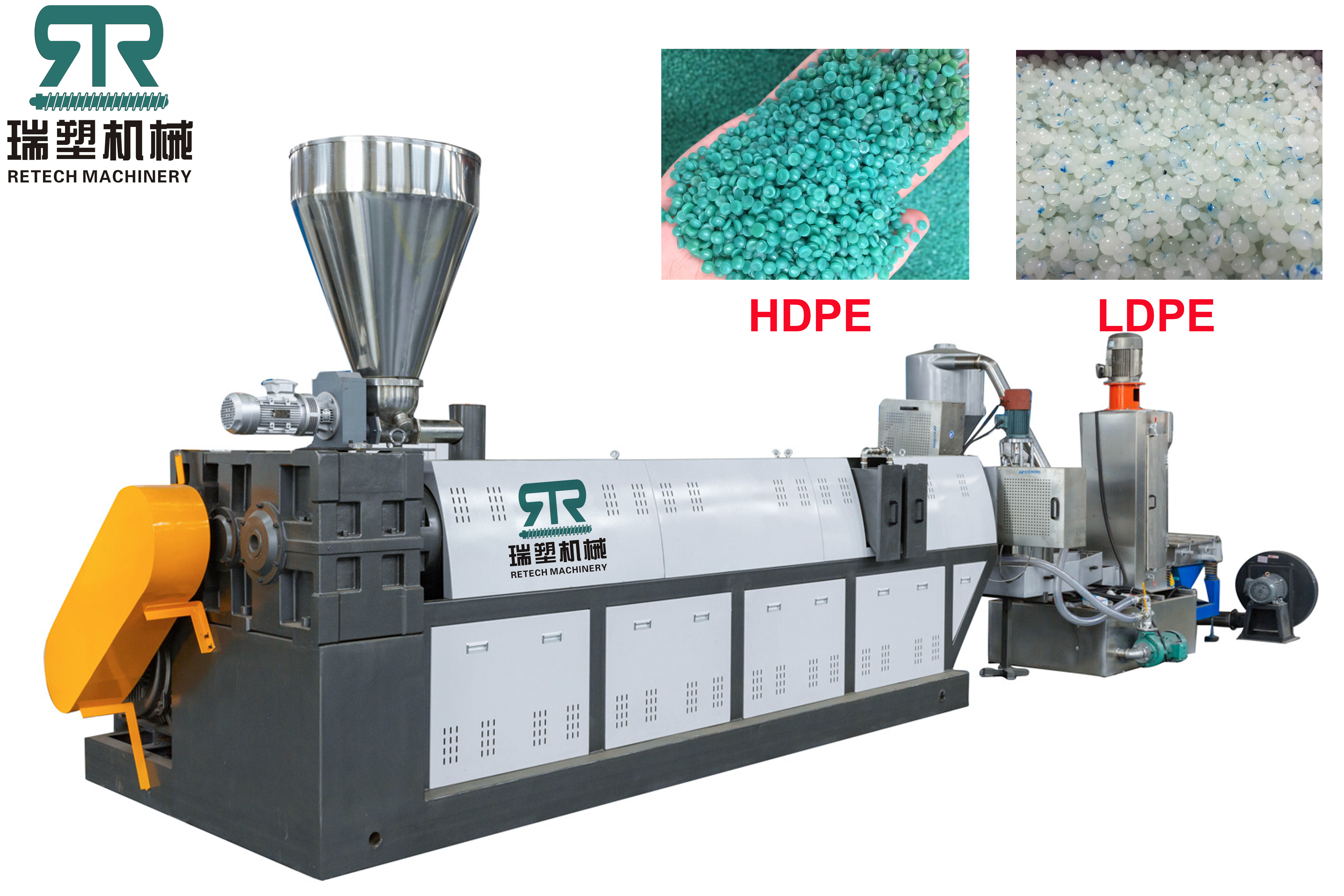 HDPE PP Bottle Pipes Lumps Rigid Flakes Single Stage Die Face Cutting Pelletizing Line