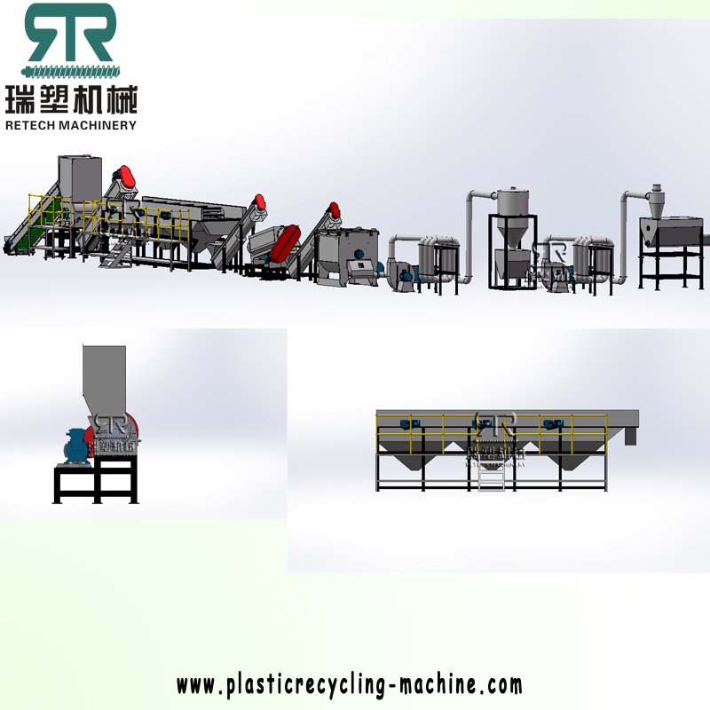 PP woven bag crushing washing recycling drying line with squeezing dryer