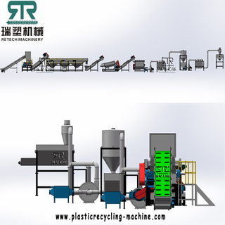 500kg/h LDPE Agriculture Greenhouse film LLDPE Packaging Film Washing Recycling Line with Film-Paper Tag Separation System
